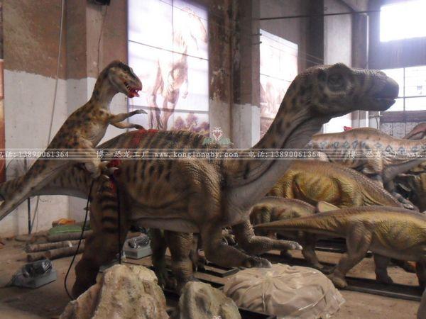 恐龙打架手绘图片